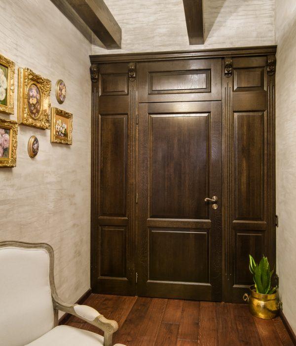 Drzwi do garderoby dębowe, brąz
